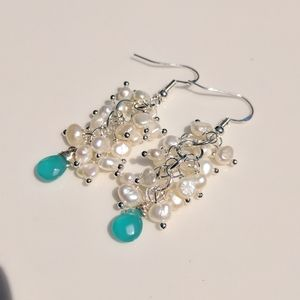 Silver blue chalcedony and pearls earrings